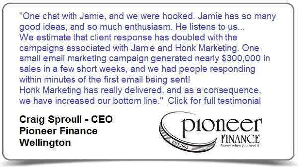 Testimonial from Pioneer Finance for Honk Marketing