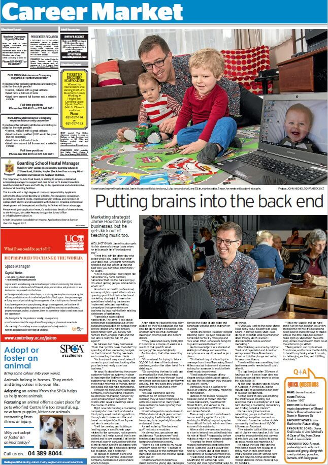The back end guy Jamie Houston of Honk Marketing talks about back end marketing - Article in Dominion Post Newspaper